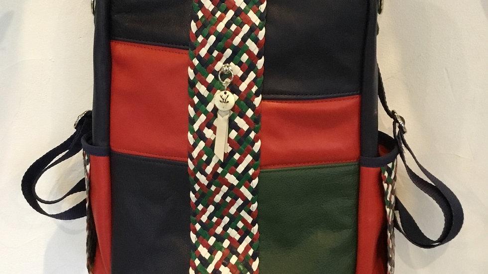 KIRA sac By le cerf à lunettes rouge patchwork de cuir