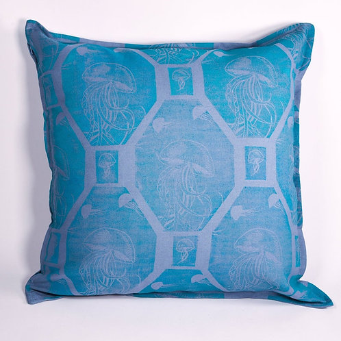Handprinted Blue Jellyfish Cushion Cover