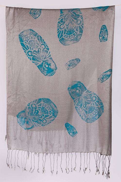Handprinted Pashmina Summer Scarf Shawl