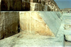 THE GREAT PYRAMID ORIGINAL CASING BLOKS FOUND AT THE PYRAMID NORTH'S SIDE. SIMILIAR STONE BLOKS FORM