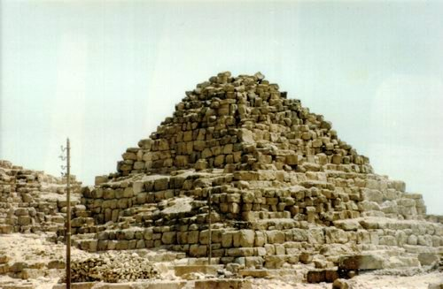 Remains of one of the three satellite pyramids LOCATED TO THE SOUTH SIDE OF THE PYRAMID OF MYCERINUS