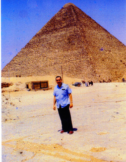 AUTHOR ENG. SAMUEL LABOY IN HIS VISIT TO THE PYRAMIDS AT GIZA.