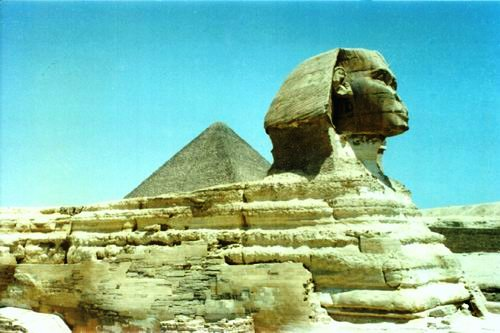 THE SPHINX THE GREAT PYRAMID BEHIND
