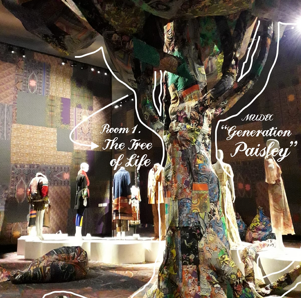 """At the entrance of Etro's """"Generation Paisley"""" exhibit, the roots of this patchwork paisley tree unravel throughout each room, symbolizing both Etro's origins as a textile company and the cross-cultural celebration that characterizes its bohemian, Mesopotamian-inspired style."""