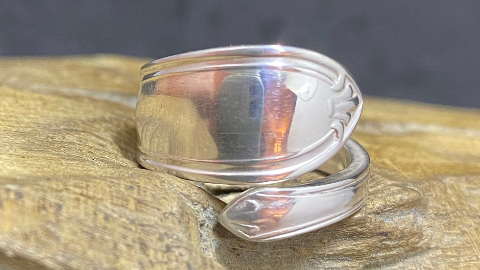 Solid Silver Spoon Handle Ring 1944 Sheffield