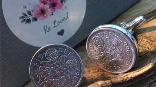 Six Pence Cuff Links Queen Elizabeth