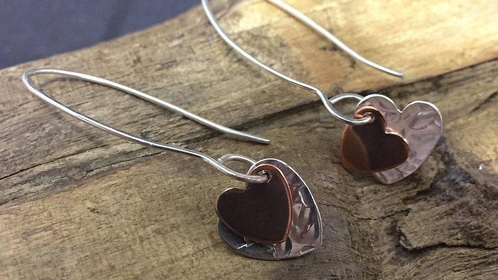 Long Hammered Silver & Copper Heart Earrings