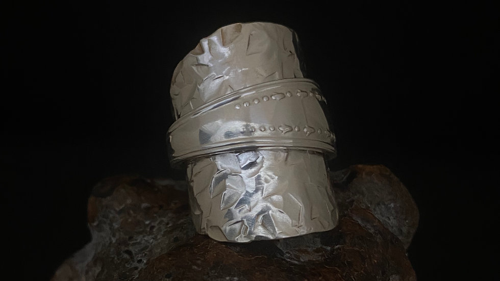 Sterling Silver Hammered Tea Spoon Ring 1936 Size P