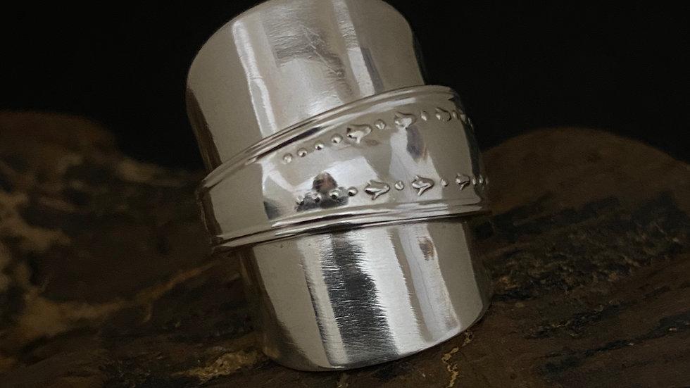 Solid Silver Full Tea spoon Ring, 1936 Sheffield, Size N