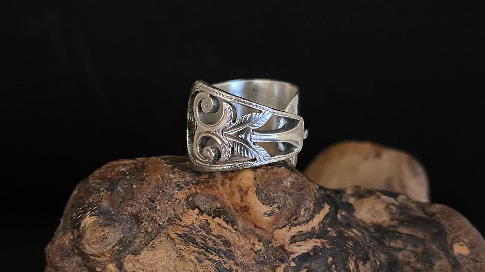 Silver Sugar Tong Ring 1893 Birmingham Size M