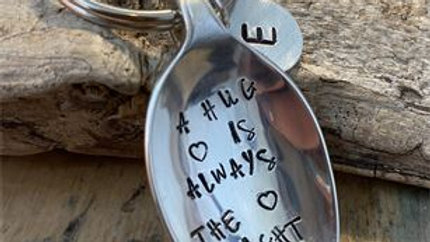 Vintage Tea Spoon Basin Key Ring , A Hug Is Always The Right Size