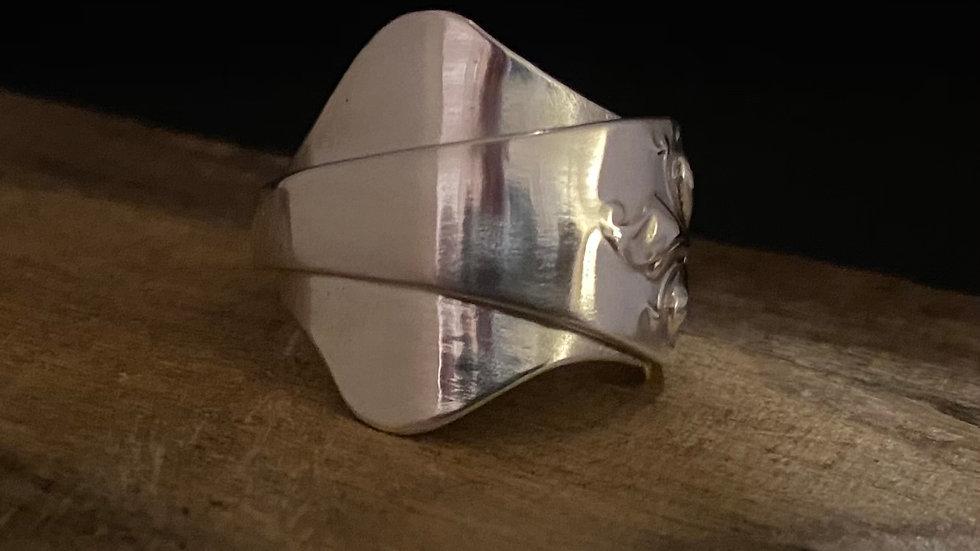 1911 Birmingham, Solid Silver Full Spoon Ring, Size O