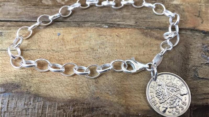 Silver Three Pence Belcher Bracelet