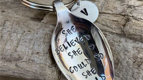 Vintage Tea Spoon Basin Key Ring She Believed She Could So She Did