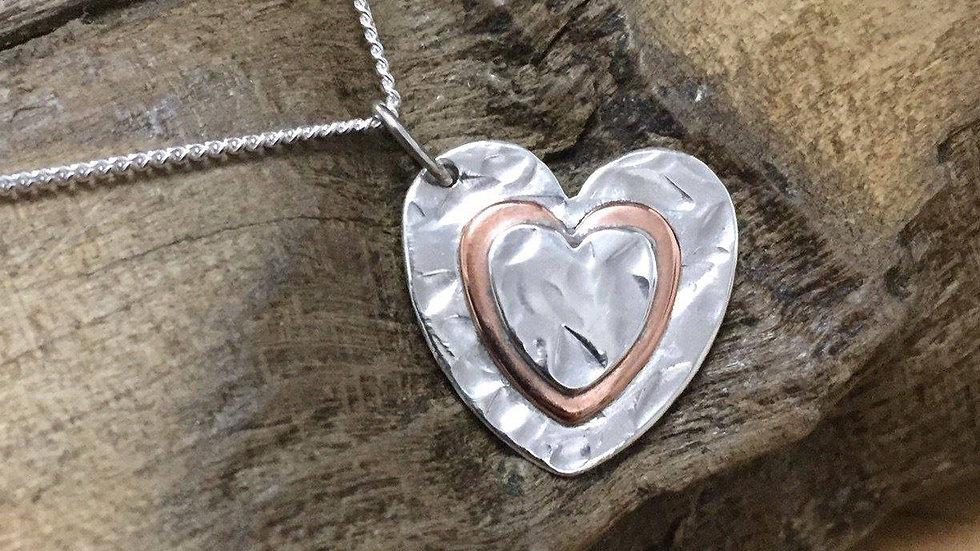 Silver & Copper Medium Heart Necklace