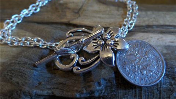 Lucky Sixpence Double Chain Bracelet