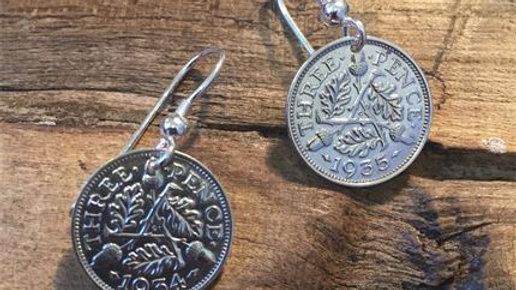 Silver three pence earrings