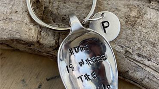 Vintage Tea Spoon Basin Key Ring Home Is Where The Gin Is