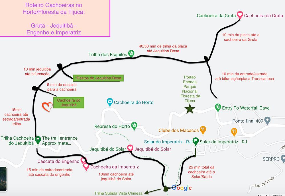 Mapa Roteiro Das Cachoeiras do Horto