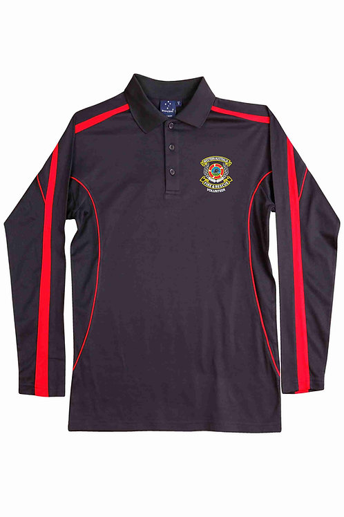 True Dry Long Sleeved Polo (Navy/Red)