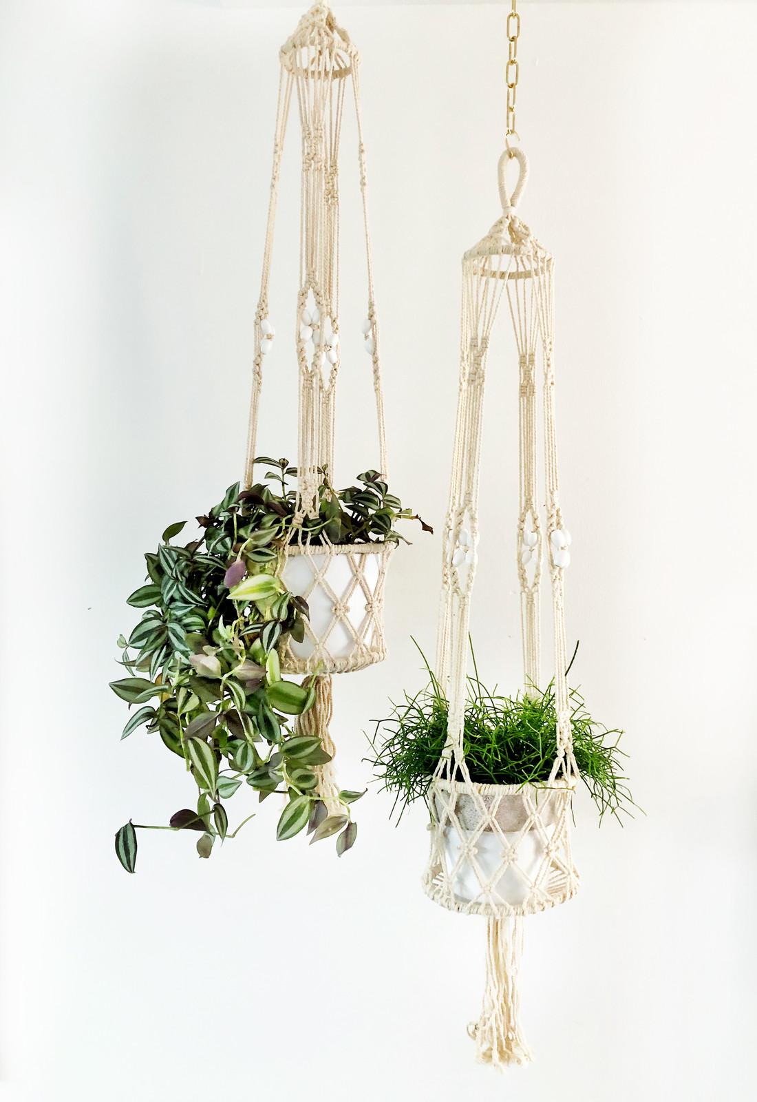 makrame h ngekorb blumennetz pflanzen korb. Black Bedroom Furniture Sets. Home Design Ideas