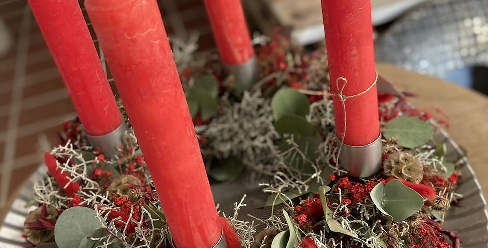 Dried Flowers - Adventkranz - Rot