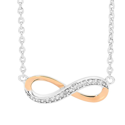 Ellani Infinity Necklace with 18ct Rose Gold Plating