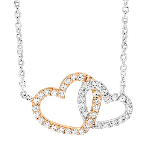 Ellani Linked Hearts Necklace with 18ct Rose Gold Plating