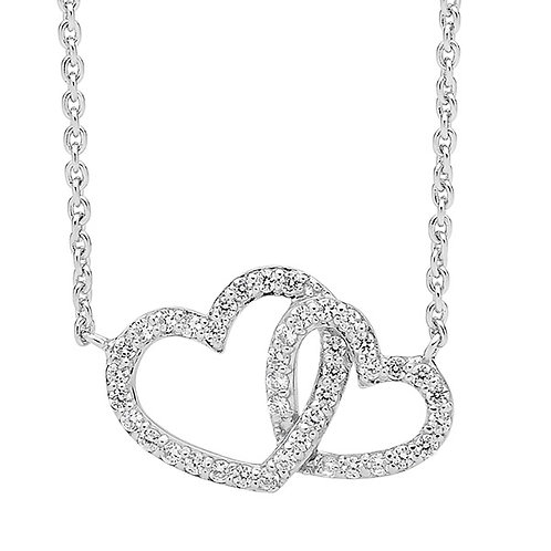 Ellani Linked Hearts Necklace Sterling Silver