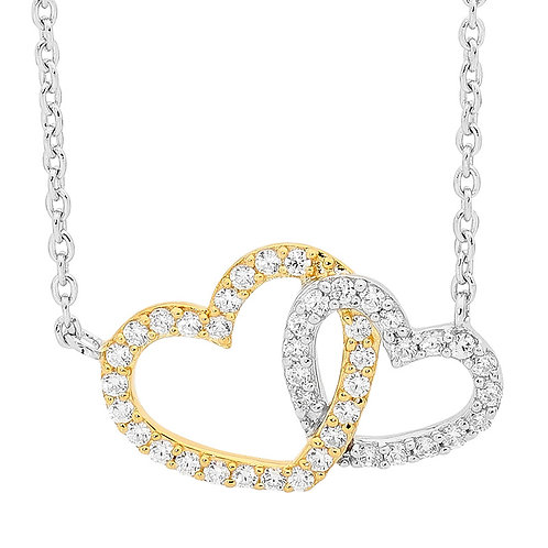 Ellani Linked Hearts Necklace with 18ct Gold Plating