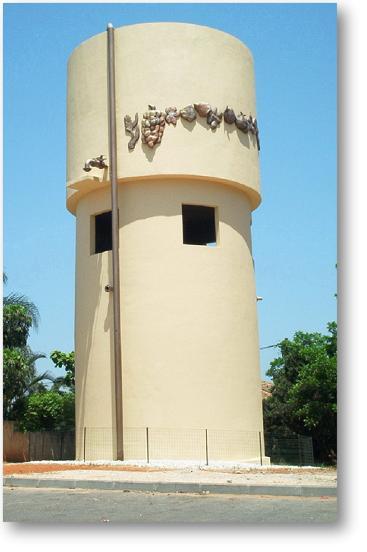 תבליט אמנותי במגדל מים