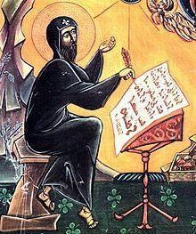St Ephrem writing a hymn