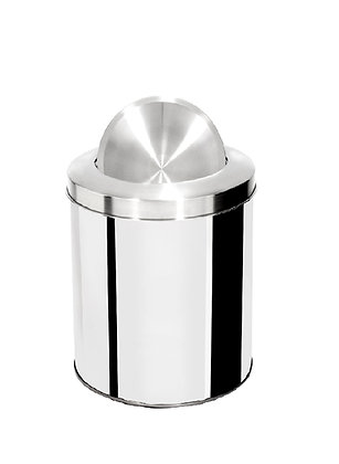 Lixeira inox cilíndrica com tampa flip top e aro inox - 15 litros
