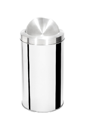 Lixeira inox cilíndrica com tampa flip top e aro inox - 30 litros