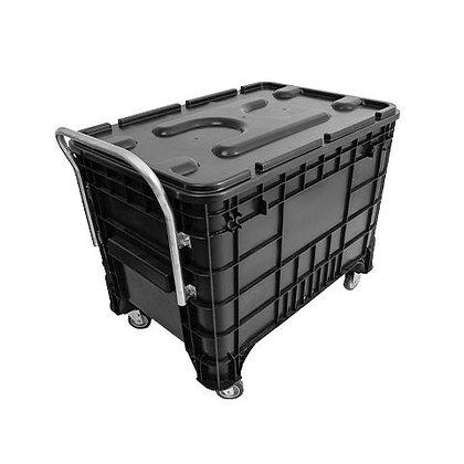 Caixa plástica completa com puxador, roda e tampa - 370 litros