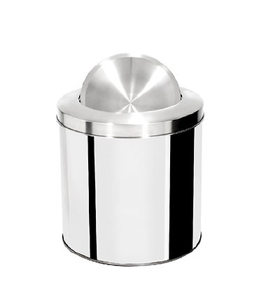 Lixeira inox cilíndrica com tampa flip top e aro inox - 10 litros