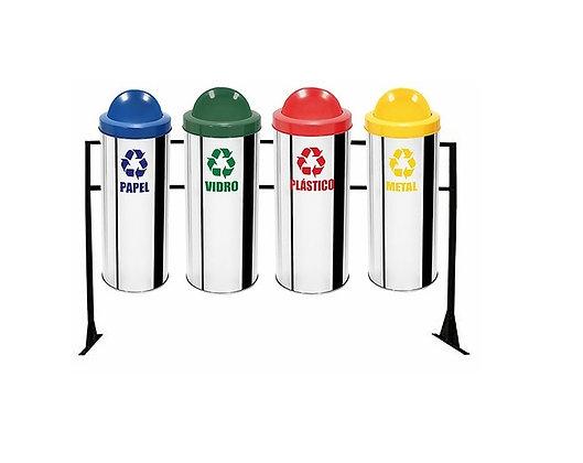 Conjunto com lixeiras seletivas inox flip-top plástico - 50 litros