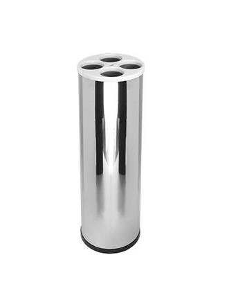 Lixeira inox cilíndrica para copos descartáveis - 4 água 1 mexedor E20