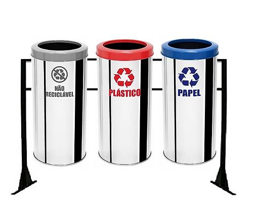 Conjunto com lixeiras seletivas inox aro plástico  - 30 litros