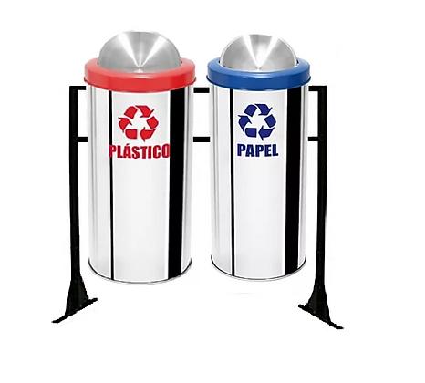 Conjunto com lixeiras seletivas flip-top miolo inox aro plástico - 50 litros