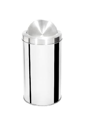 Lixeira inox cilíndrica com tampa flip top e aro inox - 25 litros