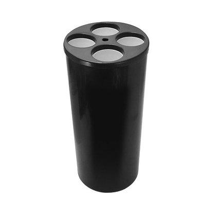 Lixeira cilíndrica preta para copos descartáveis - 4 água 1 mexedor LE15p