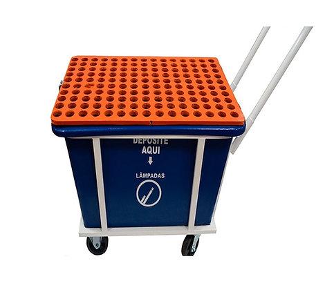 Coletor plástico para lâmpadas tubulares com rodas - 140 unidades