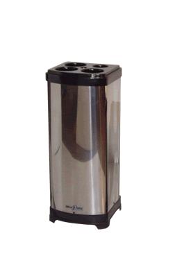 Lixeira inox quadrada para copos descartáveis - 3 água 1 café 1 mexedor