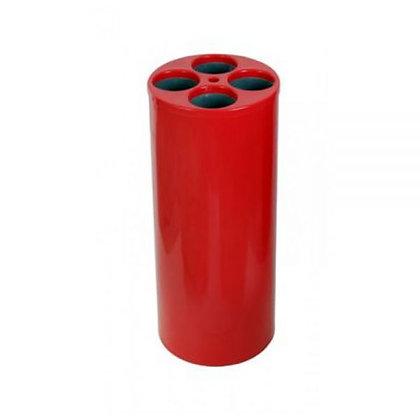 Lixeira cilíndrica vermelha para copos descartáveis - 4 água 1 mexedor LE15v