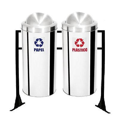 Conjunto com lixeiras seletivas flip-top inox - 50 litros