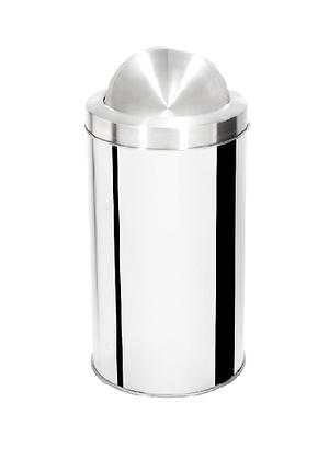 Lixeira inox cilíndrica com tampa flip top e aro inox - 50 litros