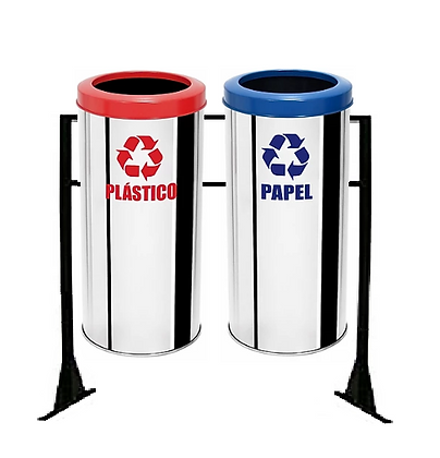 Conjunto com lixeiras seletivas inox aro plástico - 50 litros