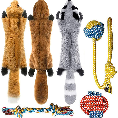 Pet east 3 Squeaky Toys and 3 Rope Dog Toys