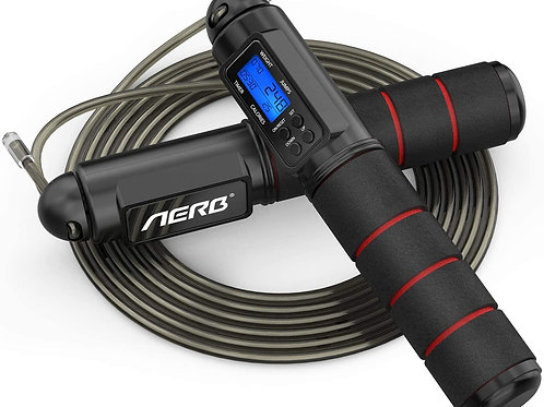 Aerb Skipping Rope, Jump Rope for Fitness: Adjustable Speed Rope Counter and Tim